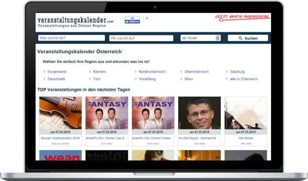 Veranstaltungskalender Webpage im Laptop